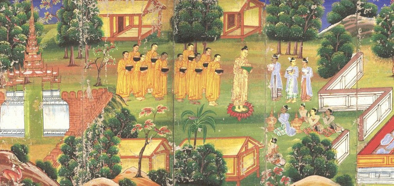 the buddha and his disciples in a garden