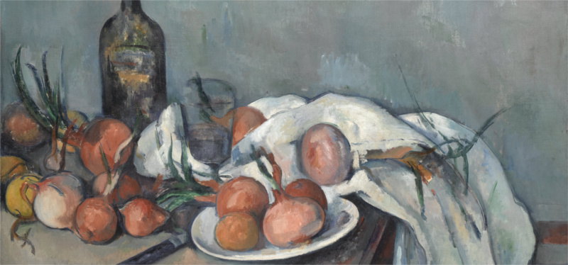 still life with onions and wine