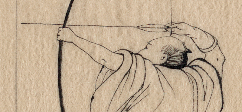 a japanese drawing of an archer
