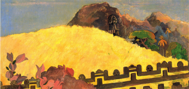 a painted scene of a golden field