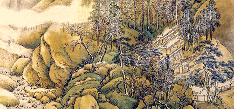 a painted japanese landscape scene