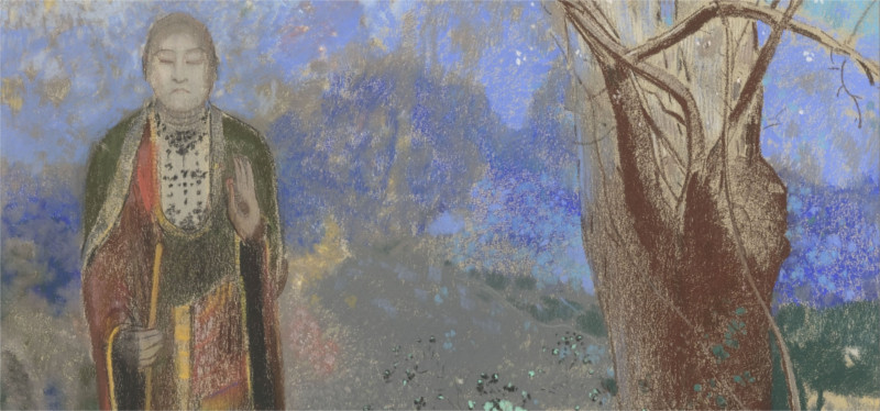 odilon redon's painting of the buddha by a tree