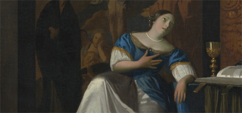 a woman swooning in a painting