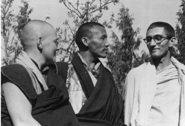 Sangharakshita With Kachu Rimpoche And A French Nun