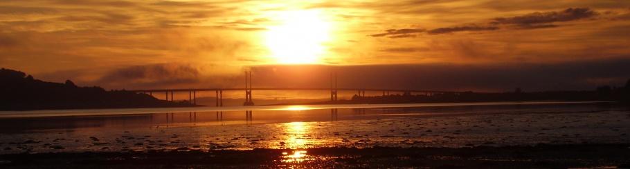sunrise over the Kessock bridge