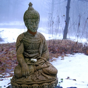 Buddha rupa and snow