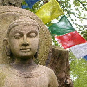 Buddhafield Buddha - marking the entrance to the Buddhafield land at Broadhembury in Devon