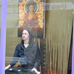 Shop window meditation at the 2012 Ipswich Buddha Festival