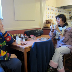 Tea and conversation in the our dining room