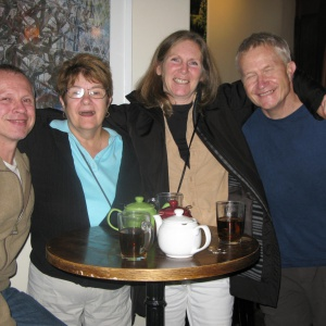 A meeting of friends at the Red Brick Cafe, Guelph. October 2014.