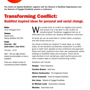 Transforming Conflict - Buddhist-inspired Ideas for Personal and Social Change