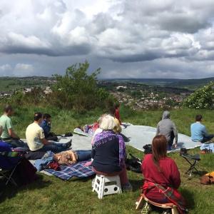 Sheffield, UK, sangha meditation outdoors