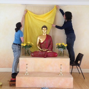 North London Buddhist Centre, UK preparing shrine