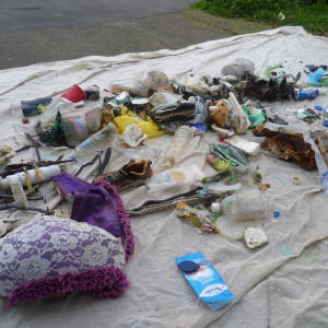 Rubbish from Owhiro Bay Beach