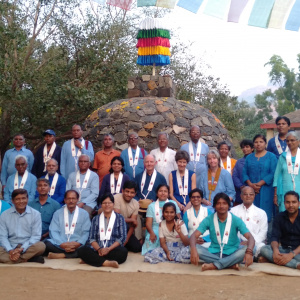 Sangharam Group photo around Guru Stupa