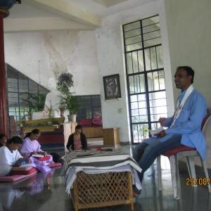 Dh. Karmavajra delivering Dhamma Talk
