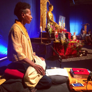 Muditasri leading meditation during the 2016 International Order Convention in Wymondham, UK