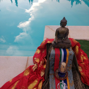 Poolside Puja at the Mainland Europe Young Buddhist Convention in Suryavana Retreat Centre, Valencia in July 2018