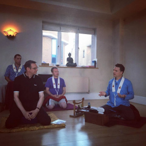 First online Mitra Ceremony 2016 - Candradasa conducts the Mitra ceremony of Brian Groves in the Brighton Buddhist Centre