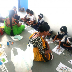 During an Art and Crafts class in the Urgyen Sangharakshita International School