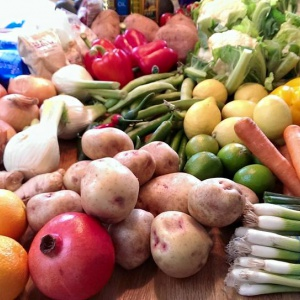 Some of the delicious vegetables and fruit that were used in the vegan cookery demonstration.  Photo: Vajrashura