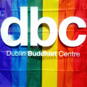 Flying the flag at the Dublin Buddhist Centre during Pride 2018