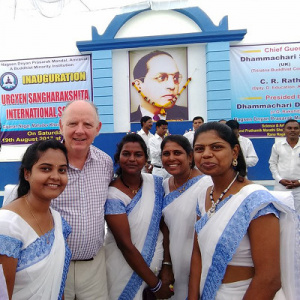 Prachi Adhau (left) with Subhuti (centre) at the inauguration of the school along with the other teachers