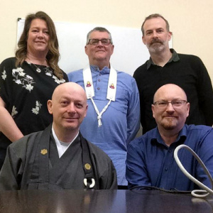 Front, from left, IBU president Rev Myozan Kodo Kilroy of Zen Buddhism Ireland, IBU secretary Kieron Lawlor. Back, from left, IBU treasurer Alison Lopez, of Kagyu Samye Dzong Dublin, IBU trustee Maitrikaya of the Dublin Buddhist Centre, and IBU trustee from the Jampa Ling Tibetan Buddhist Centre.