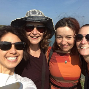 The Lama's Pyjamas team: Niki Moores, Abhayanandi, Sally Ramsden and Sarah Nixon at a recent team day