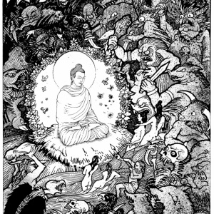 "Original black & white drawing Aloka (for ""The Guide to the Buddhist Path"") which he has kindly made available for use in publicity for the International Practice Week 2018."