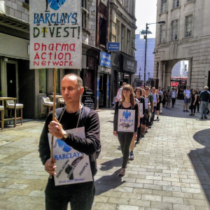 On the 16th June Dharma Action Network for Climate Engagement (DANCE) London are holding a silent protest vigil outside Barclays Bank in Piccadilly Circus in London.