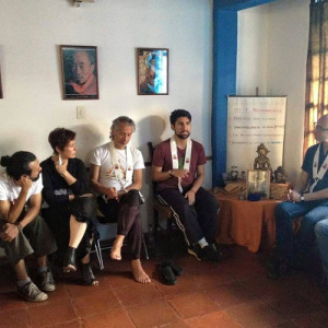 Aryavachin speaking during a class at the Mérida Buddhist Centre
