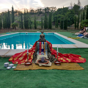 The pool-side shrine on the last evening for a special puja
