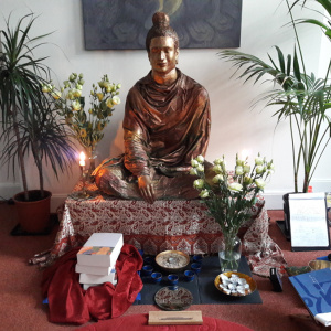 The books were offered to the shrine during a ritual at the Liverpool Buddhist Centre