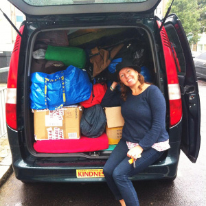 Amitasuri and Ambaravajri collected clothing, which they drove to the refugee camp at Calais, northern France, in Amitasuri's van in September 2015, as part of a Buddhist response to the European Refugee Crisis