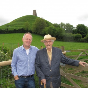 In front of the famous Glastonbury Tor with his good friend Paramartha