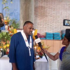Maitriveer Nagarjuna being interviewed by the BBC
