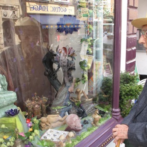 Bhante and Glastonbury shop window
