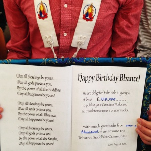 Bhante's birthday card