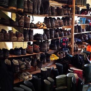 Shrine tent boot rack