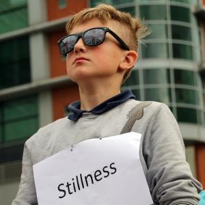 Flashmob boy meditator