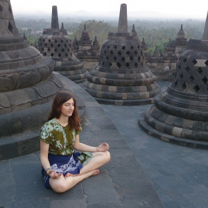 Anne-Cathrin at Borobudur