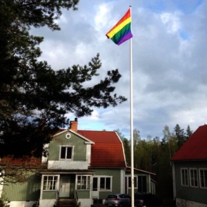 Rainbow flag at Dharmagiri