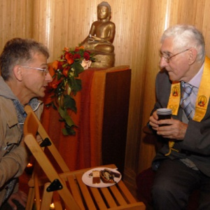 Tibor and Sangharakshita at the opening of the Krakow Buddhist Centre, Poland, 2008