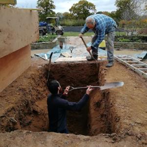 Preparing the grave