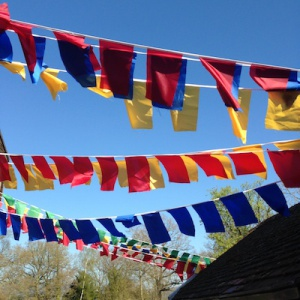 50th birthday flags at Adhisthana