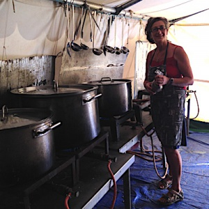 Satyamuni cooks lunch