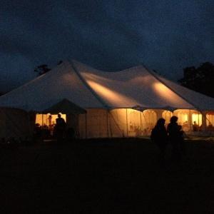 Shrine tent at night