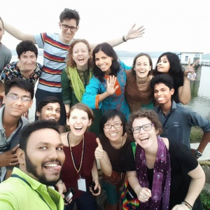 Zoe with Sangha friends in India