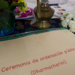 Ordination ceremony with vase of initiation